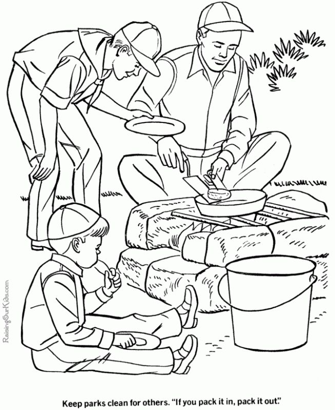 Cooking with family is fun in Camping coloring pages | Holiday ...