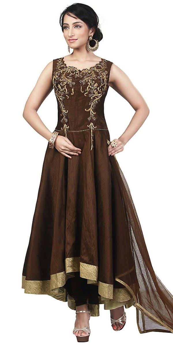 c74bad1308 Brown Color Attractive Churidar Style In Anarkali Look With Dupatta ...