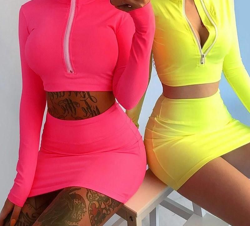 Neon 2 piece | Neon outfits, Two piece dress, Skirt suit set