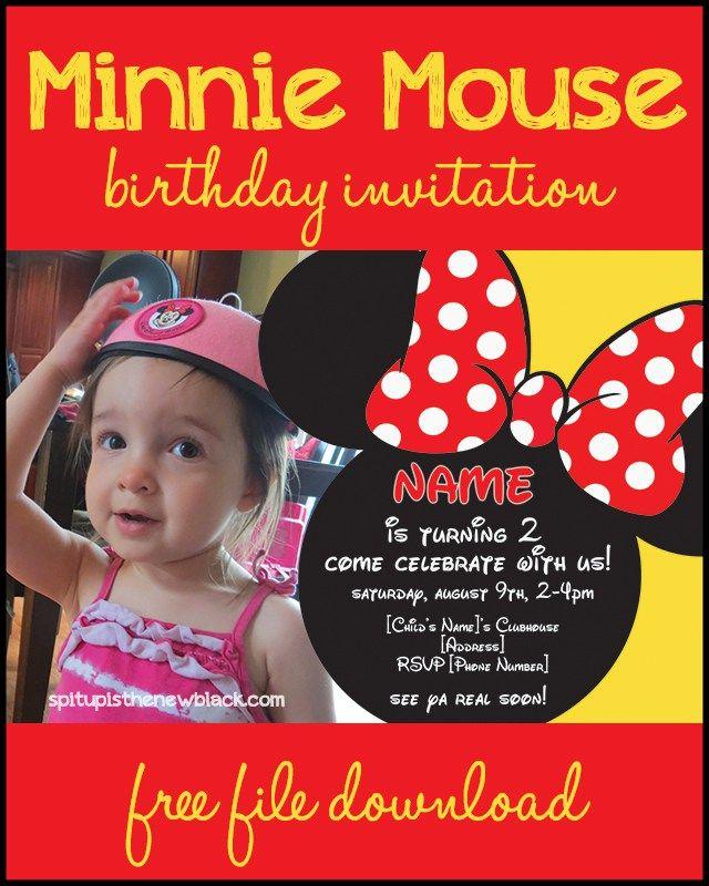 Free Minnie Mouse Birthday Invitation   2nd birthday   Pinterest ...