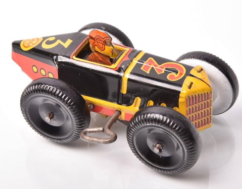 Vintage Marx Tin Litho Wind Up Race Car 3 Rare