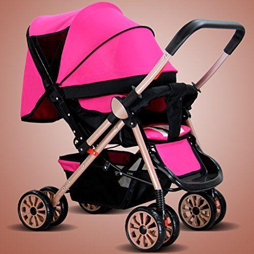 Cochecitos pueden sentarse o acostarse ultra portátil plegable de dos vías de los niños del bebé del verano del paraguas del cochecito del coche de cuatro BB ( Color : Rosa )  #carritosbebeorg