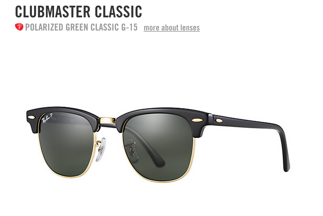 RayBan Clubmaster Classic, matte black and gold frame with Polarized ...