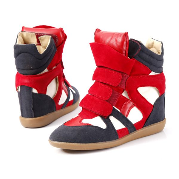 c2a41dee4bf Isabel Marant High Top Wedge Sneakers Suede And Leather Red White Hot Sale  Online!
