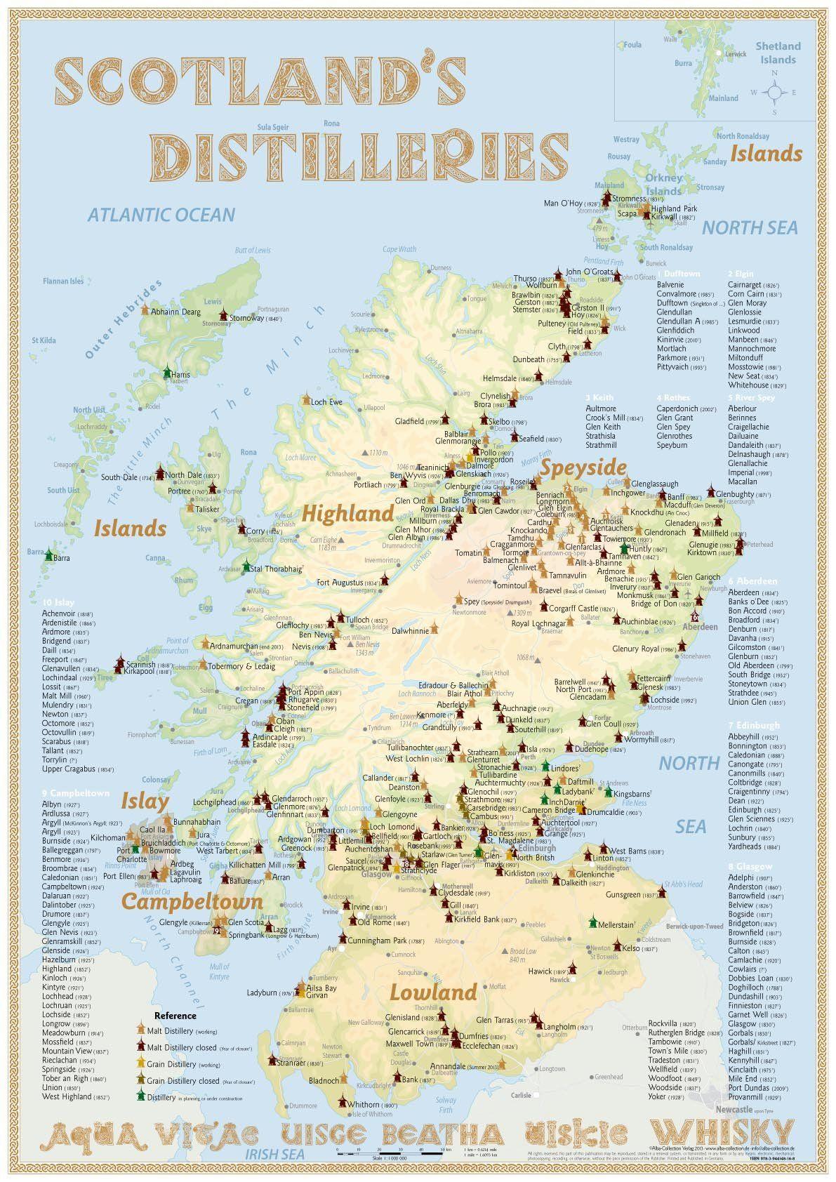 Mapa Skotskych Paliren Maps Of Scotland S Distilleries Miesta