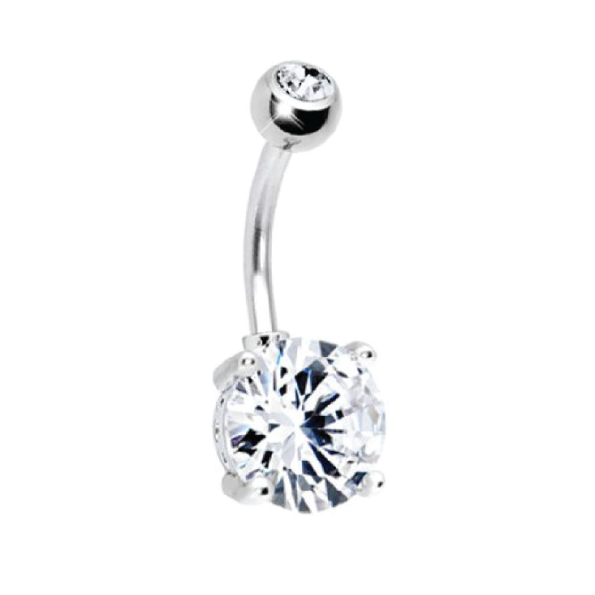 Body piercing retainer  BodyJYou Belly Ring Big Cubic Zirconia Clear Belly Button Ring G