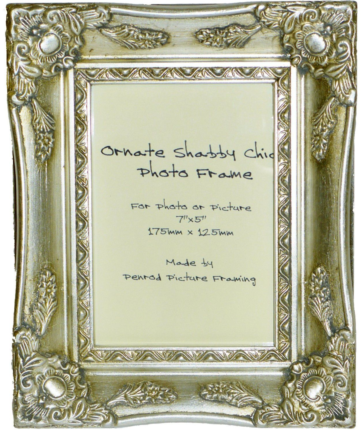 Antique silver shabby chic ornate swept vintage picture