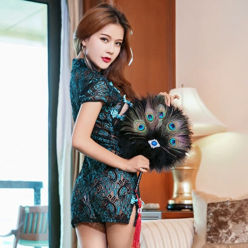 38e5c80931ec7 Sexy Nightclub Retro Peacock Embroidery Cheongsam Lingerie Women ...