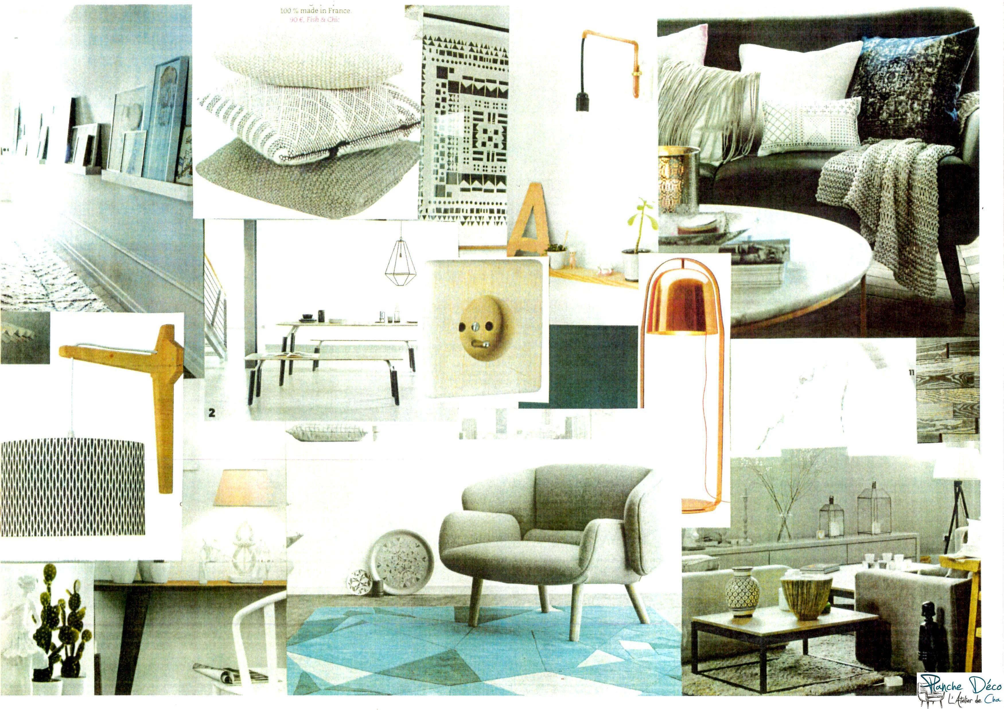 Planche d co id es d co salon scandinave cuivre ethnique nature bleu p trole planche d co - Deco salon cuivre ...