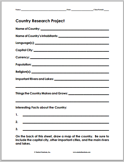 Country Research Project - Worksheet is free to print (PDF ...