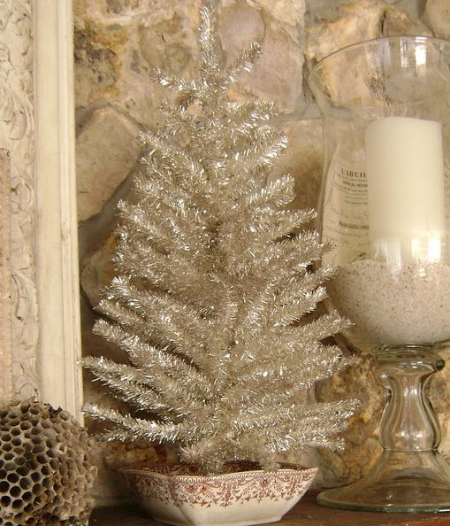 Small Silver Christmas Tree.Small Silver Tinsel Tree In A Bowl For Vintage Decor