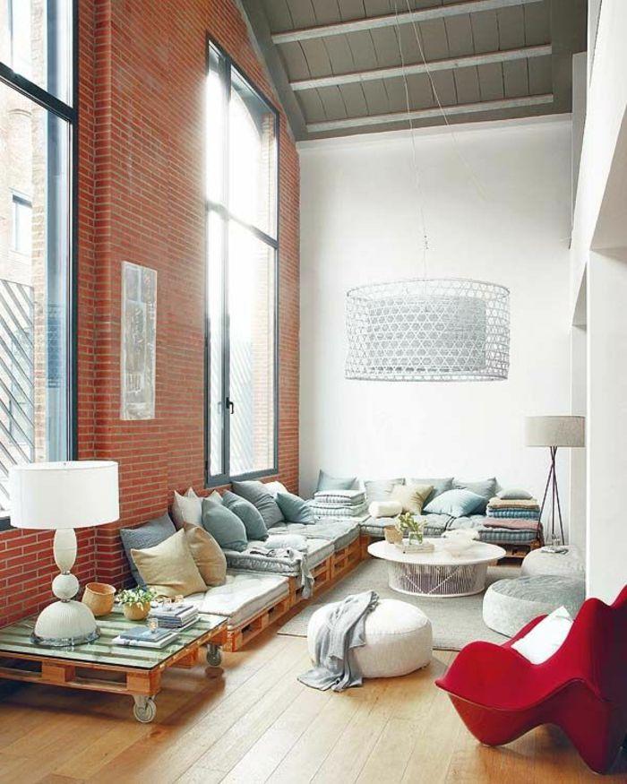 zona chillout hecha con pallets table de salon en palette salon contemporain avec meubles en palettes