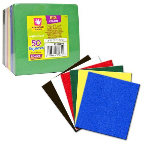 Fiber Craft 50-Pack Square Foam Sheet Stack, 4 by 4-Inch, Multi ...