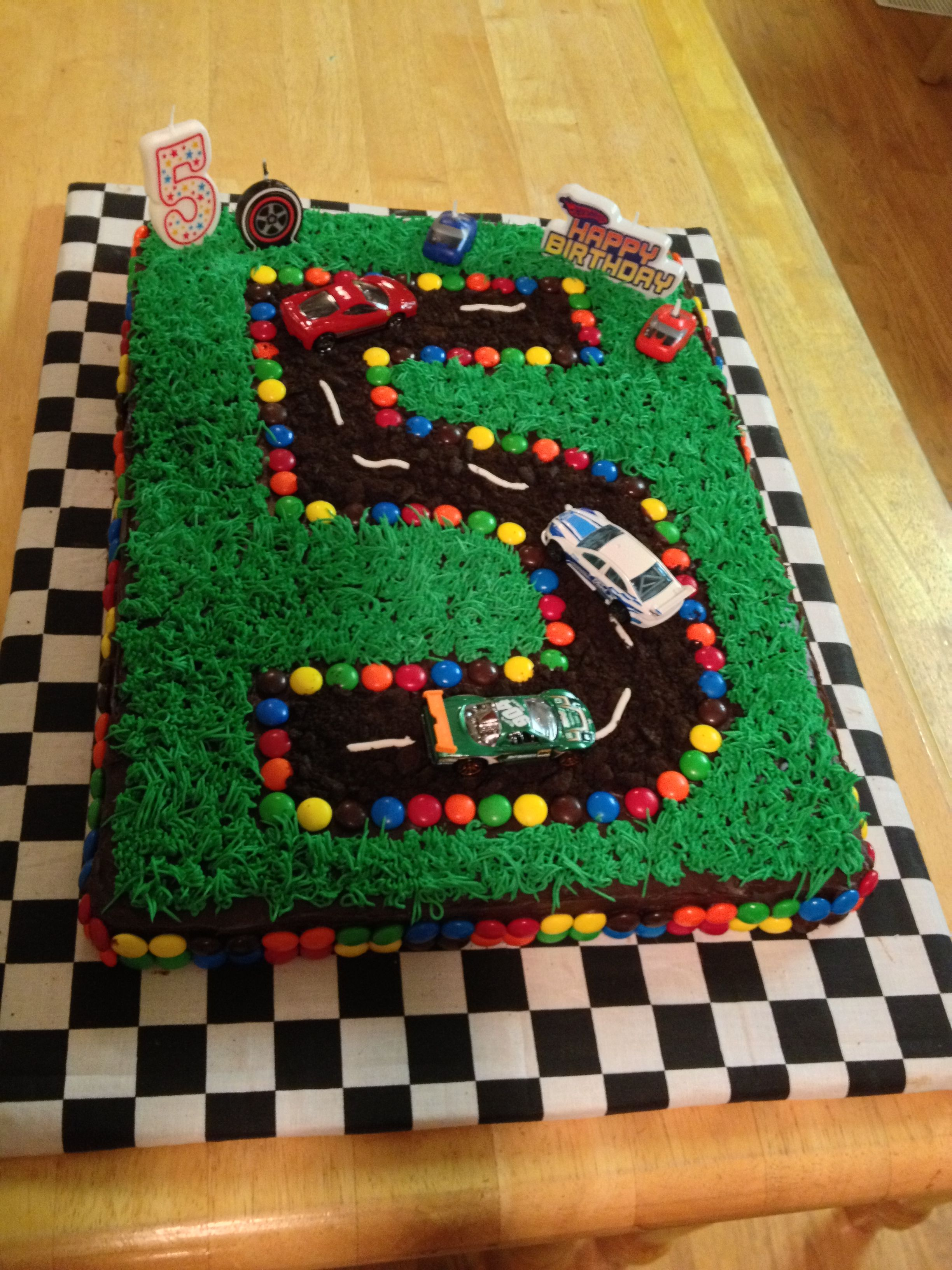 My 5 yr olds race car cake Race car cake Pinterest
