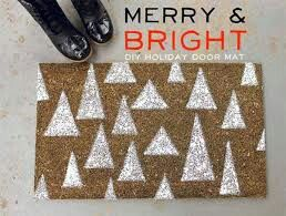 Merry and bright welcome mat.
