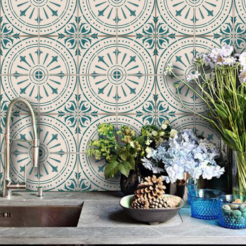 Chiave Wallpaper In Teal Removable Vinyl Wallpaper Peel Etsy Vinyl Wallpaper Vinyl Tile Tile Decals