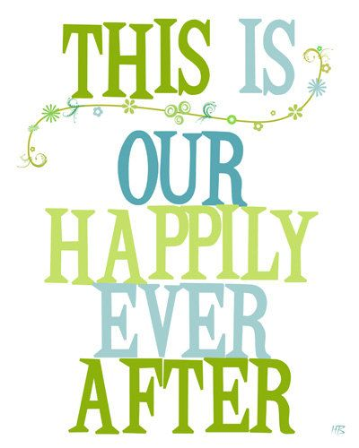 Wedding Wall Art Print Typography Poster Happily Ever After Anniversary Gift Home Decor