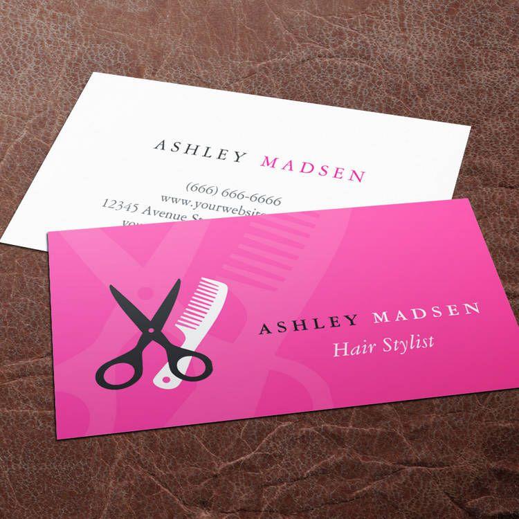 Hair salon hairstylist cute girly pink business card