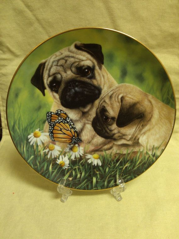 The Danbury Mint Pug Eyed By Simon Mendez Limited Edition Plate No