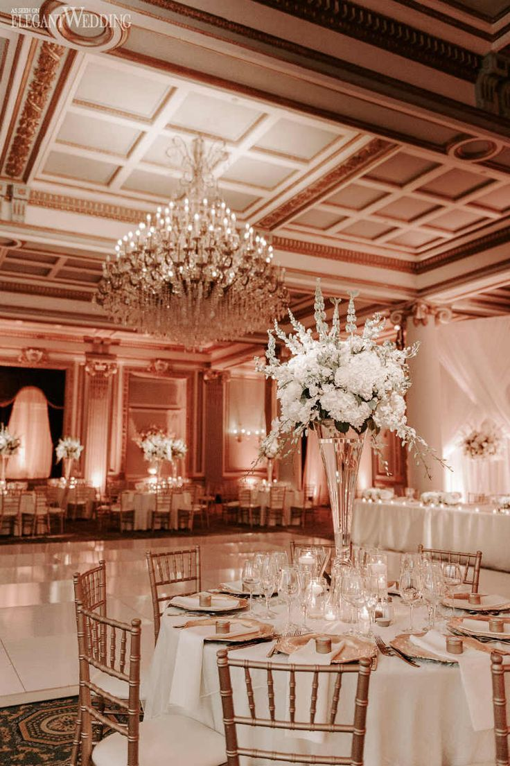 All-White Ballroom Wedding with Gold Accents | ElegantWedding.ca