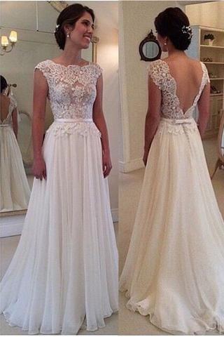 Ivory Lace Chiffon Backless Cap Sleeves Beach Bridal Wedding Dress LD141 36c394024858