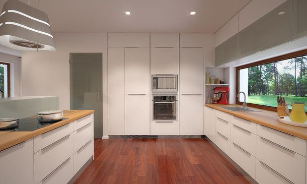 Jasna kuchnia z dużym panoramicznym oknem ; )  Projekty