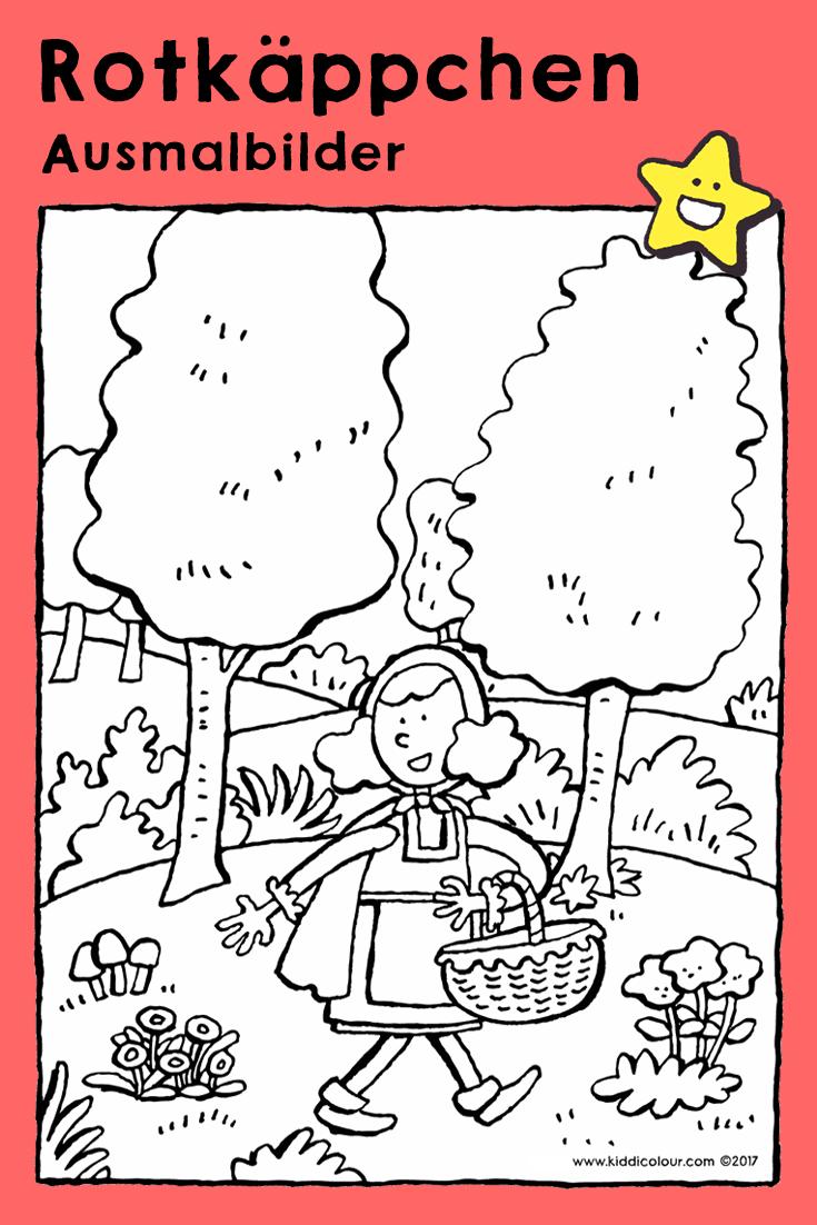 rotkäppchen im wald  kleurplaten sprookjes tekenen