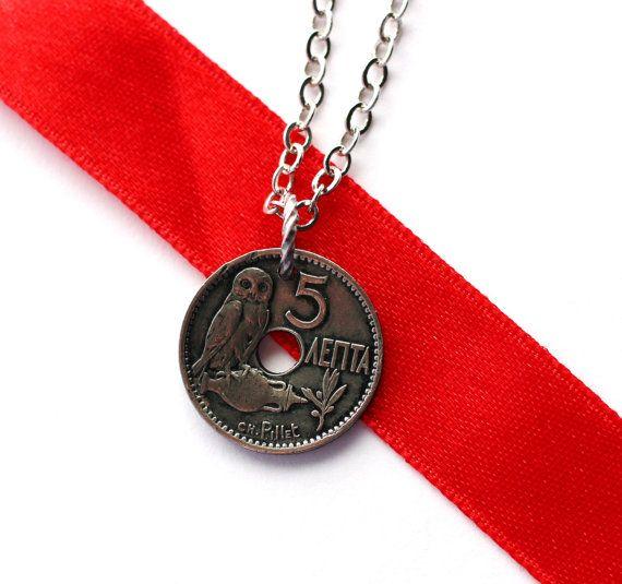 Greek Owl Coin Necklace1912 Greece Pendant 10 Lepta by Hendywood