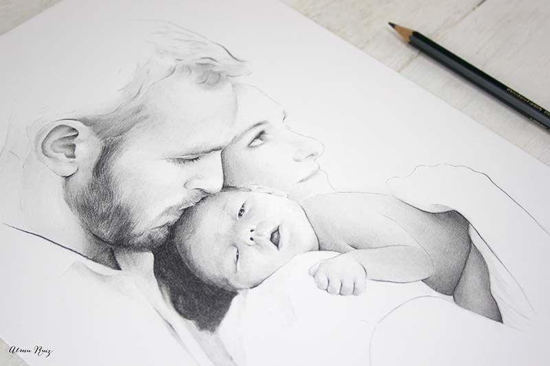 Retrato De Familia Dibujado A Lapiz De Almu Ruiz Family Portrait Drawn In Pencil Retrato Familiar Familia Dibujos Ilustraciones