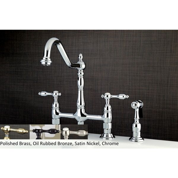 Victorian High Spout Lever-Handles Bridge Kitchen Faucet with Side ...
