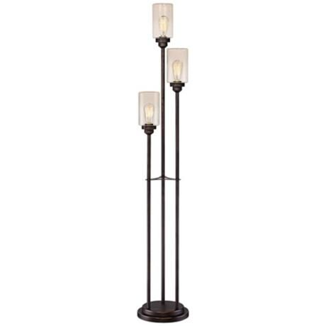 Libby oiled bronze 3 light seeded glass floor lamp floor for Floor lamp seeded glass