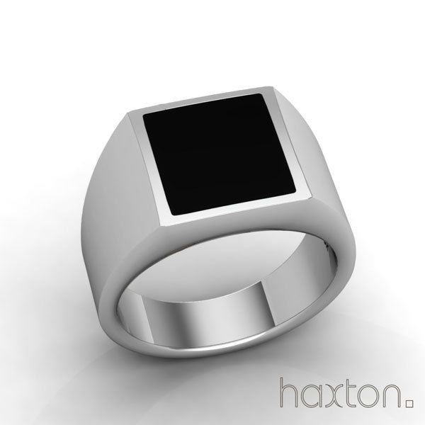 Solid 11mm Square Black Onyx Inlay in Sterling Silver