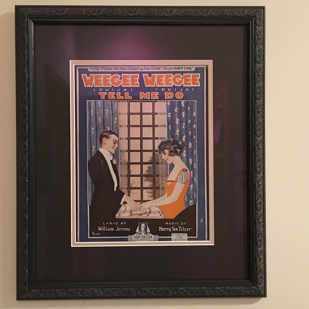 Framed hung ready to enjoy!!! #art #sheetmusic #geneseecountryinn #Rochester#newyork #mumford  #Ouija #WeegeeWeegee Thank you Michael and Janet! by yankeeinnkeeper