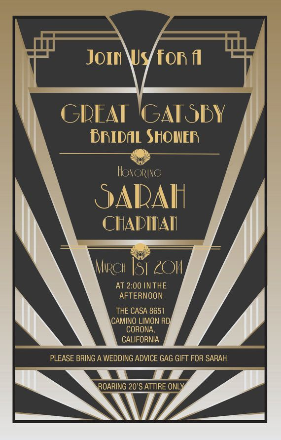 Gatsby themed bridal shower party invite #bridalshower #gatsby #gold ...