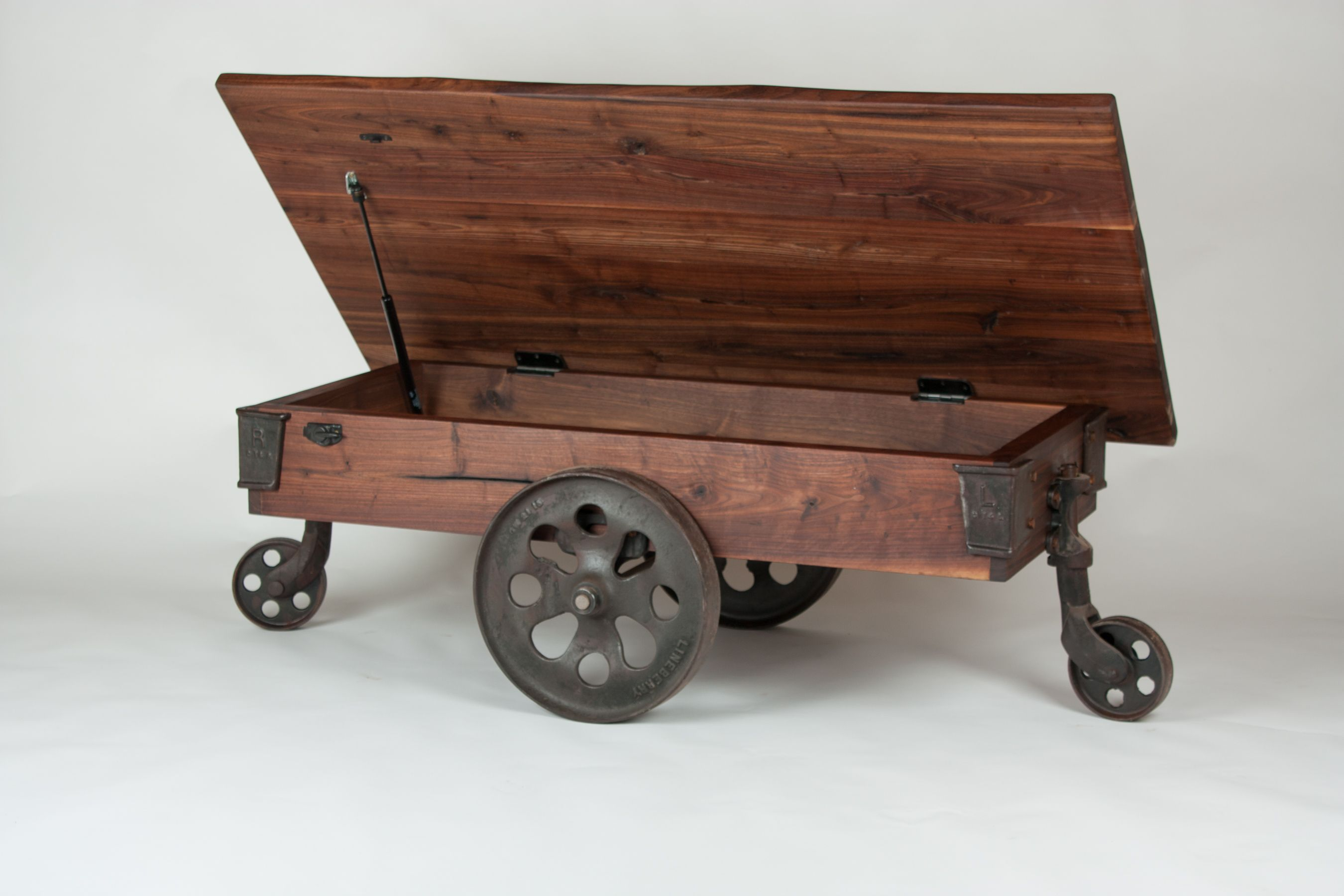 Stowaway Lineberry Factory Cart Walnut Wood Works