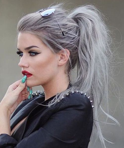 Chic Messy Grey Ponytail Hairstyles 2016 for Women