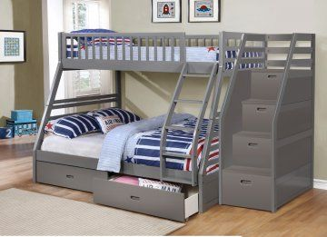 fraser ii grey twin over full bunk bed with stairway chest and storage drawers fraser