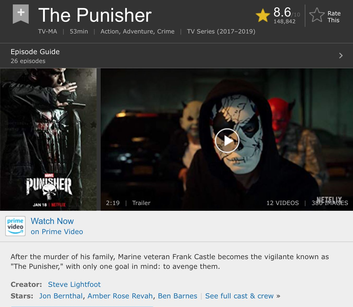 The Punisher Crime tv series, Tv series 2017, Marine veteran