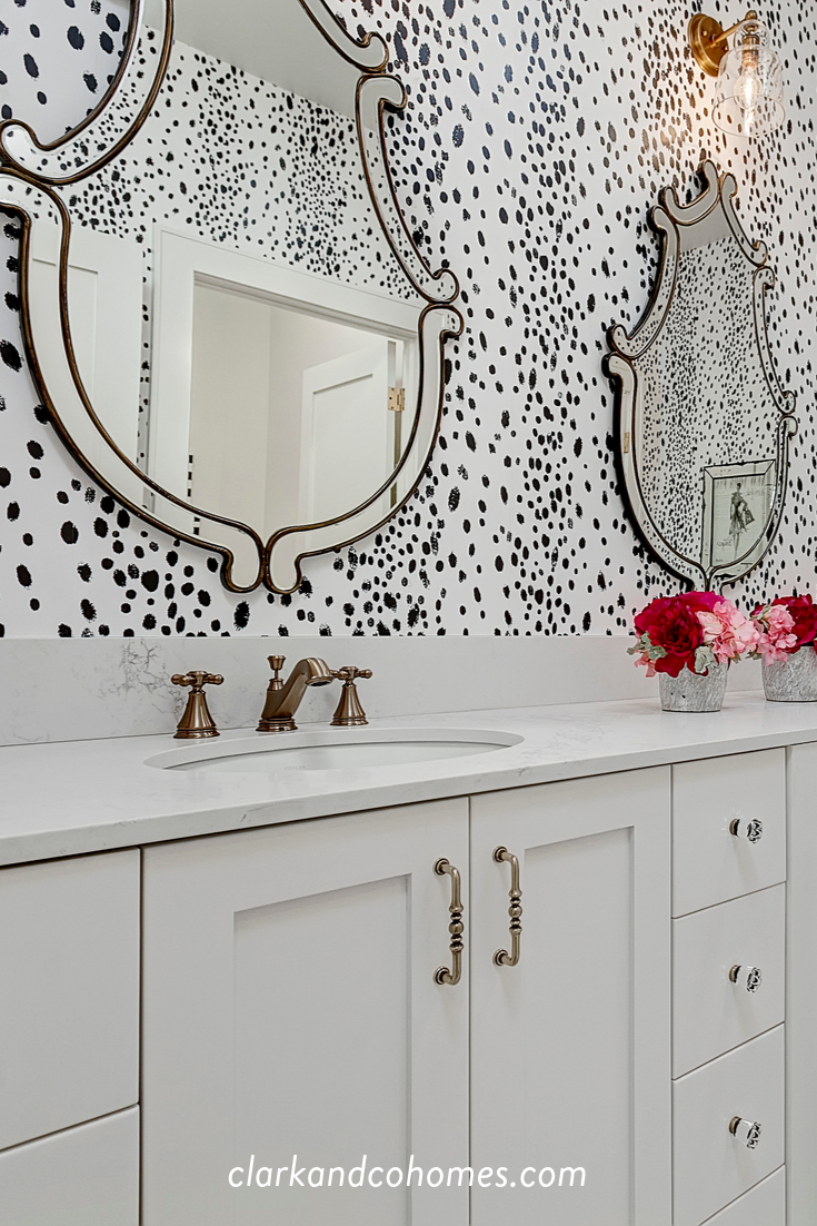 The Heartland In The Girls Bathroom Playful Wallpaper Adds Pattern And Contrast To This Space Blackandwhite B Laundry Craft Rooms Flex Room Girls Bathroom