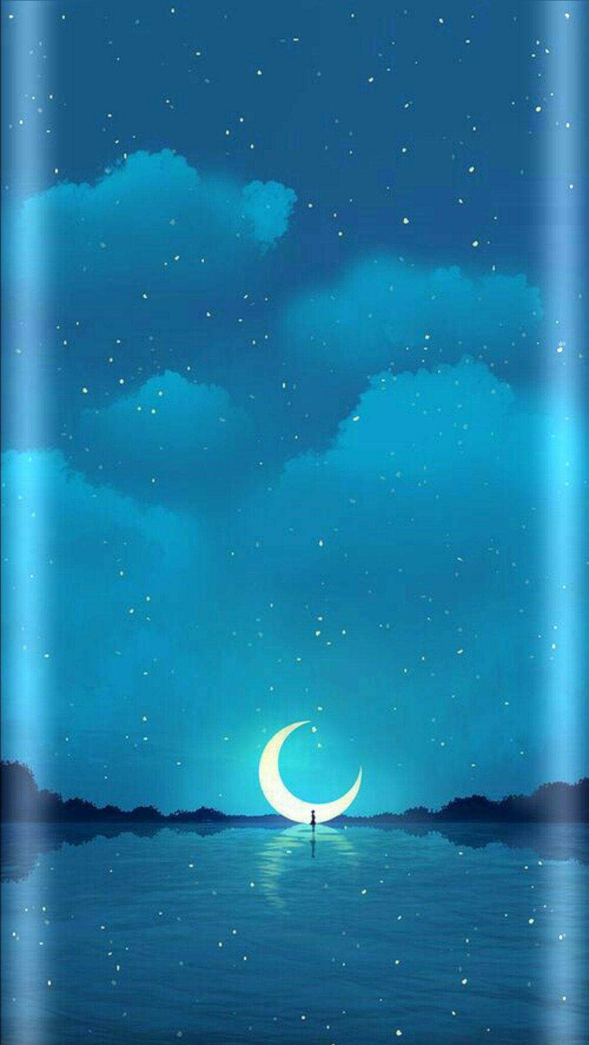 Night sky moon stars Samsung papel de parede, Papel de
