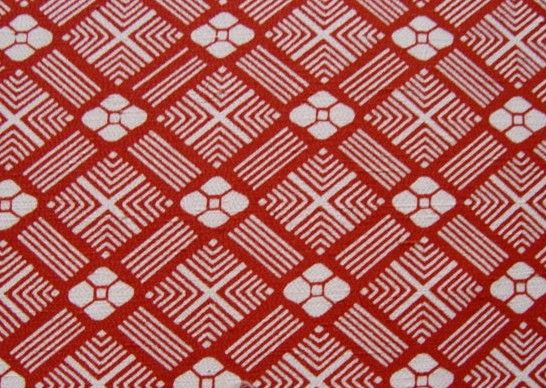 Vintage Japanese Silk Kimono fabric - RED DIAMOND AND FLORAL PATTERN - 37 inches