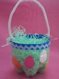 We love this easter soda bottle basket from thecraftelf diy soda bottle basket cut the bottom off of a 2 liter bottle decorate it and add a handle to make an easter basket negle Choice Image