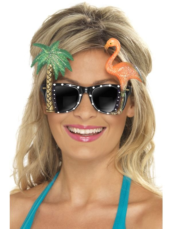 Specs, Black, with Flamingo and Palm Tree | luau hawaii for the best ...