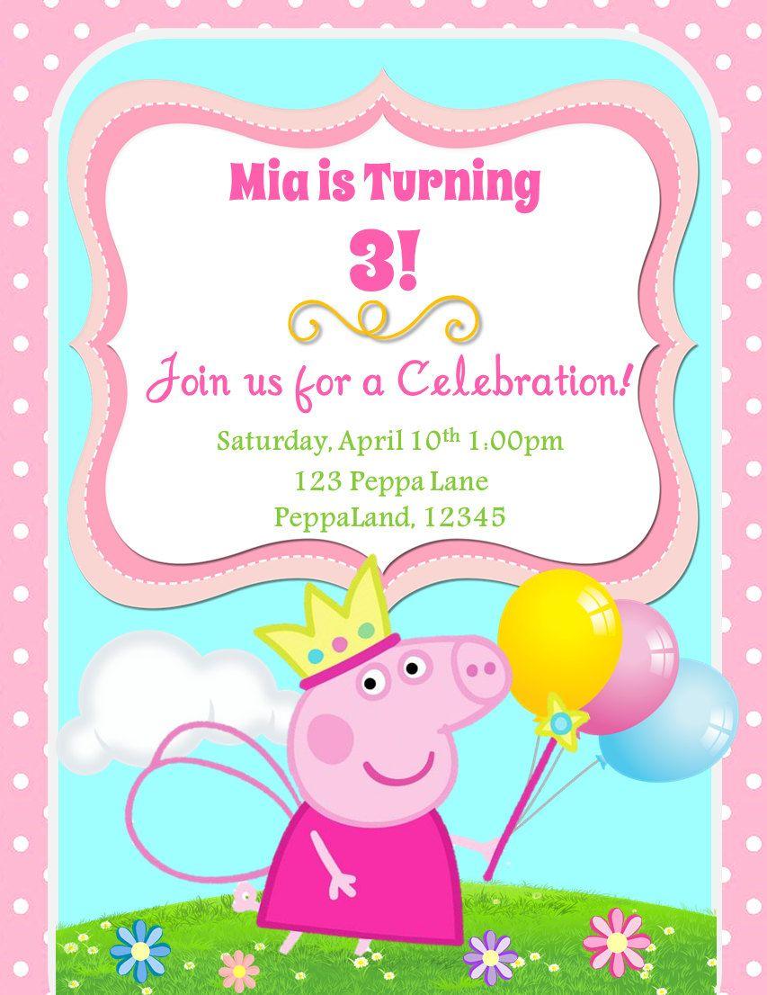 Peppa Pig Birthday Invitation In 2019 Slg Invitations Peppa Pig