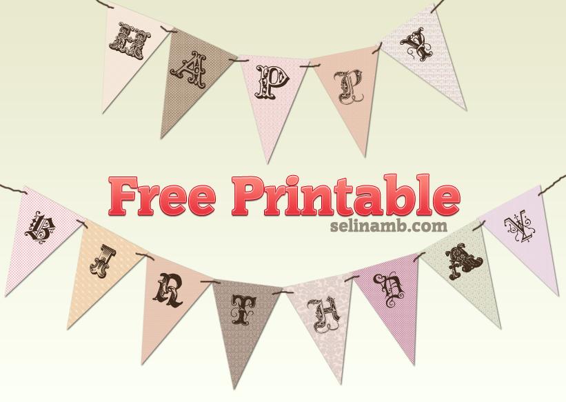 Printable Vintage Birthday Banner ~ Vintage birthday banner free printable adore
