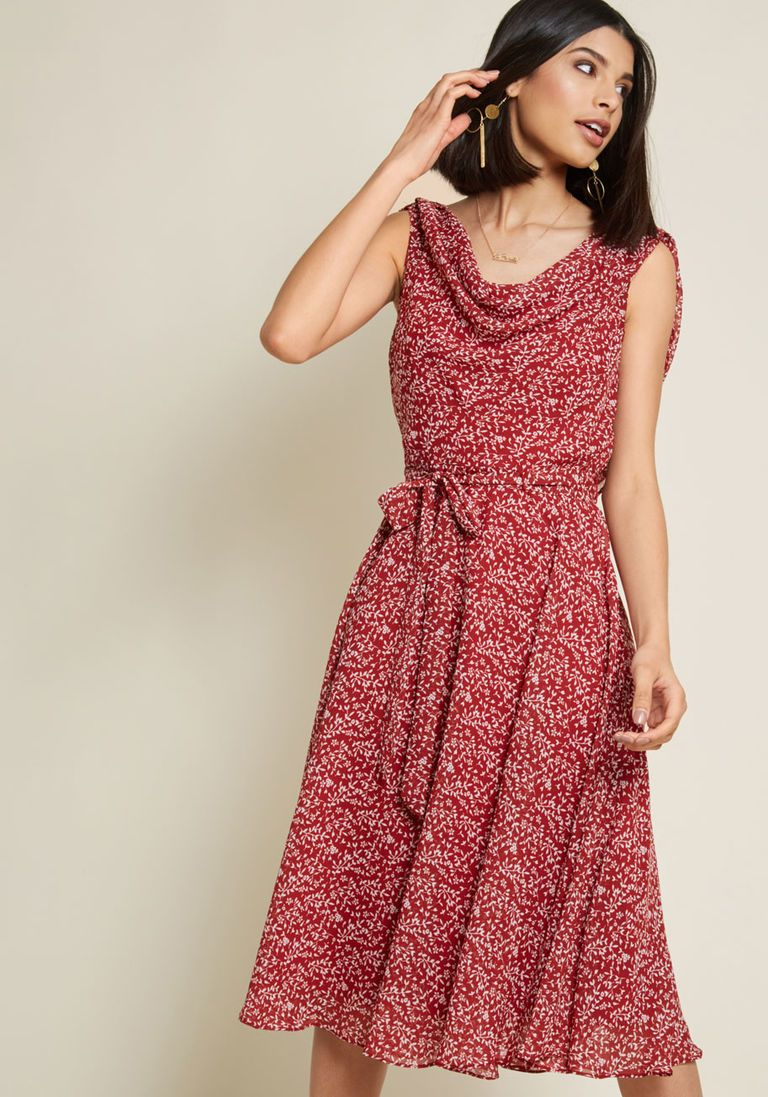 745eed2f857 Undeniably Adorable Midi Dress in Burgundy Floral in 14 - Sleeveless A-line