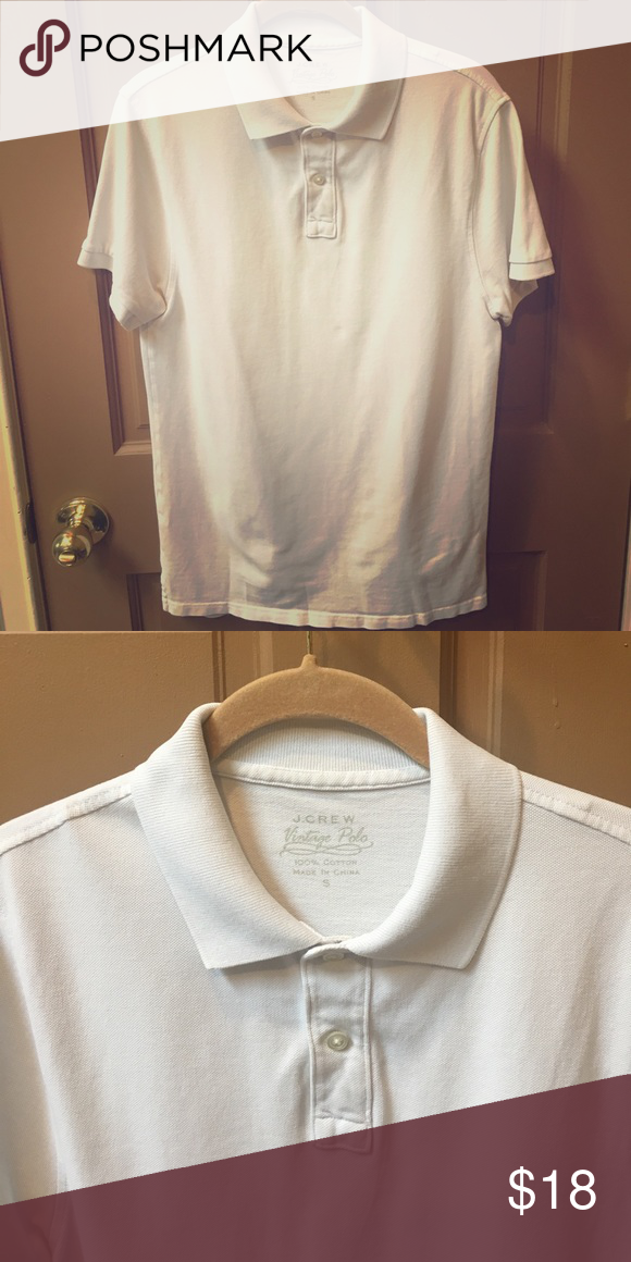 2248042f J. Crew Vintage Polo Shirt Men's small cotton vintage polo shirt in white,  never