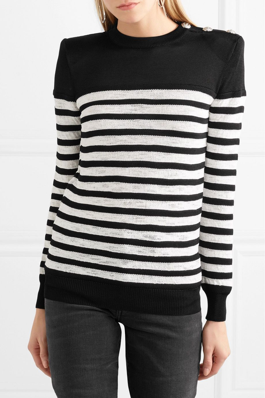 Balmain Button Embellished Striped Open Knit Sweater in 2019 ... a5453bd64