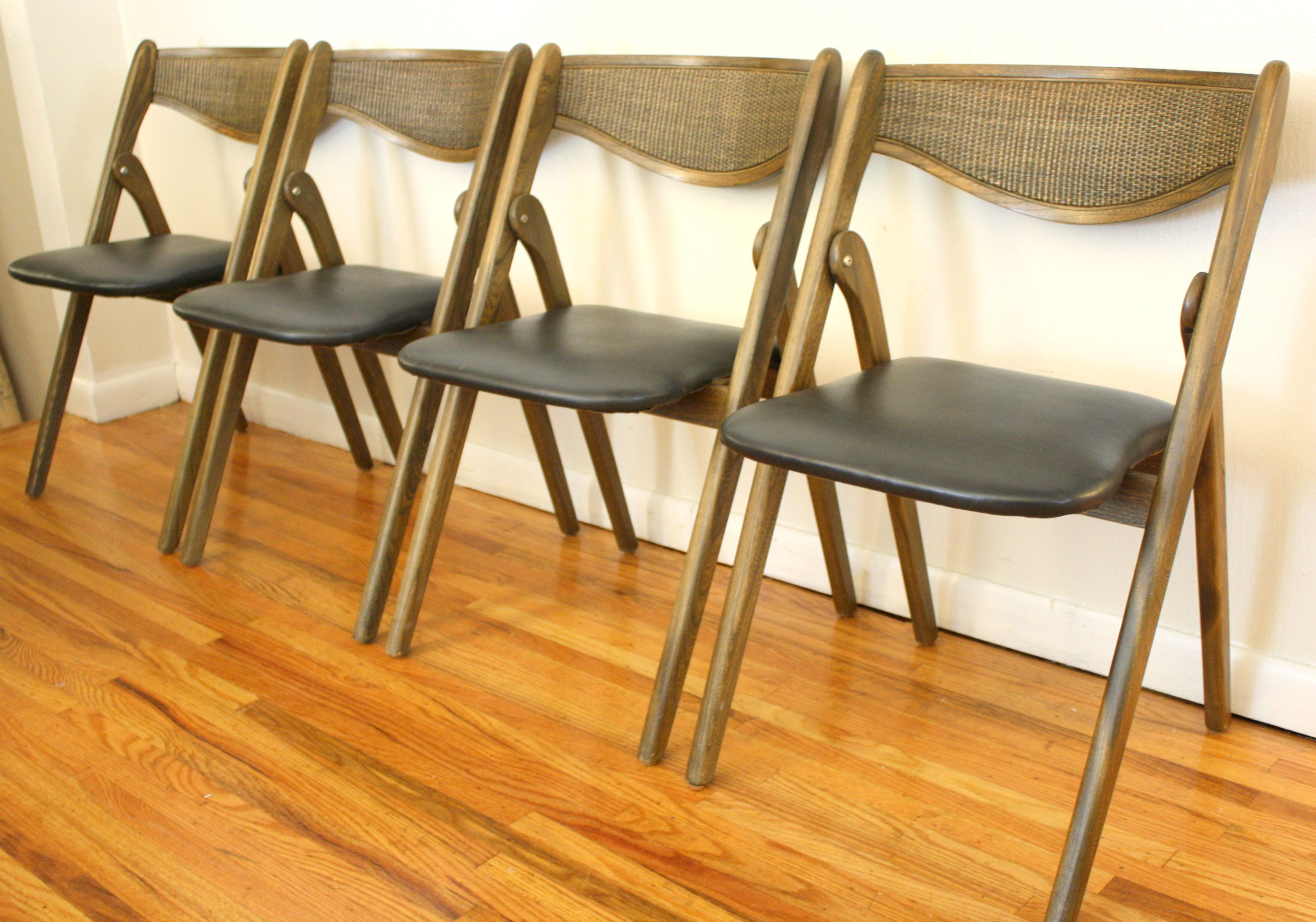 coronet folding chairs update dining room vintage mcm 4 available these are by they solid wood with vinyl seats and caned backs