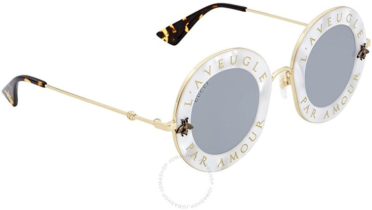 9c1a1d230a6 Amazon.com  Sunglasses Gucci GG 0113 S- 003 WHITE SILVER GOLD  Clothing